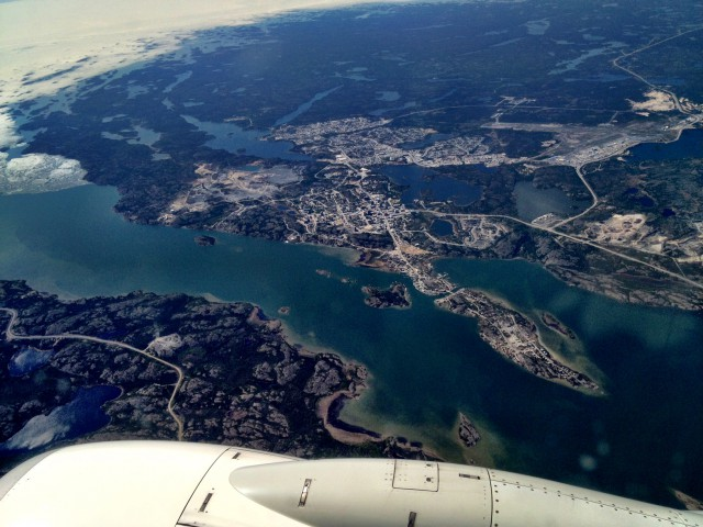 Yellowknife from a plane